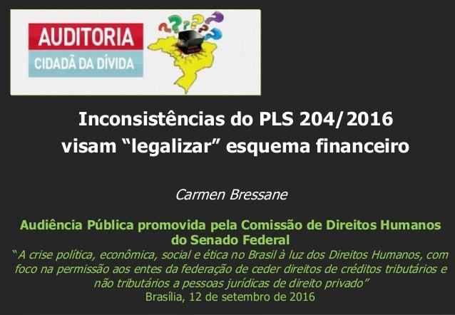 """Carmen Bressane Audiência Pública promovida pela Comissão de Direitos Humanos do Senado Federal """"A crise política, econômi..."""