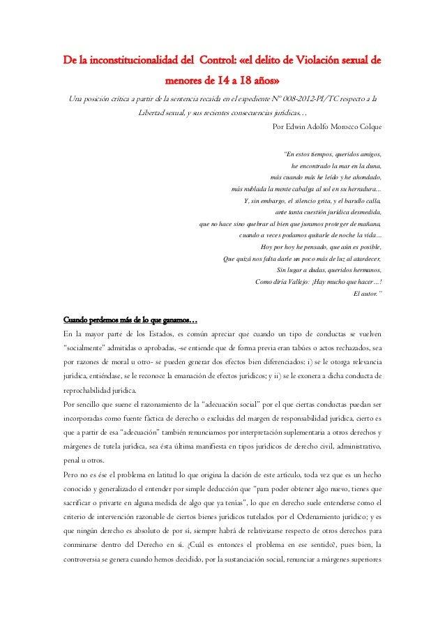 De la inconstitucionalidad del Control: «el delito de Violación sexual de menores de 14 a 18 años» Una posición crítica a ...
