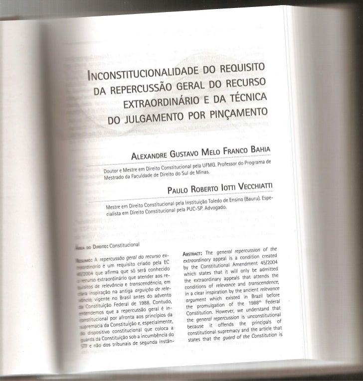 Inconstitucionalidade do requisito da repercussão geral do recurso extraordinário e da técnica do julgamento por pinçamento