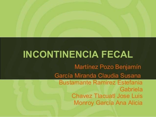 INCONTINENCIA FECAL Martínez Pozo Benjamín García Miranda Claudia Susana Bustamante Ramirez Estefania Gabriela Chavez Tlac...