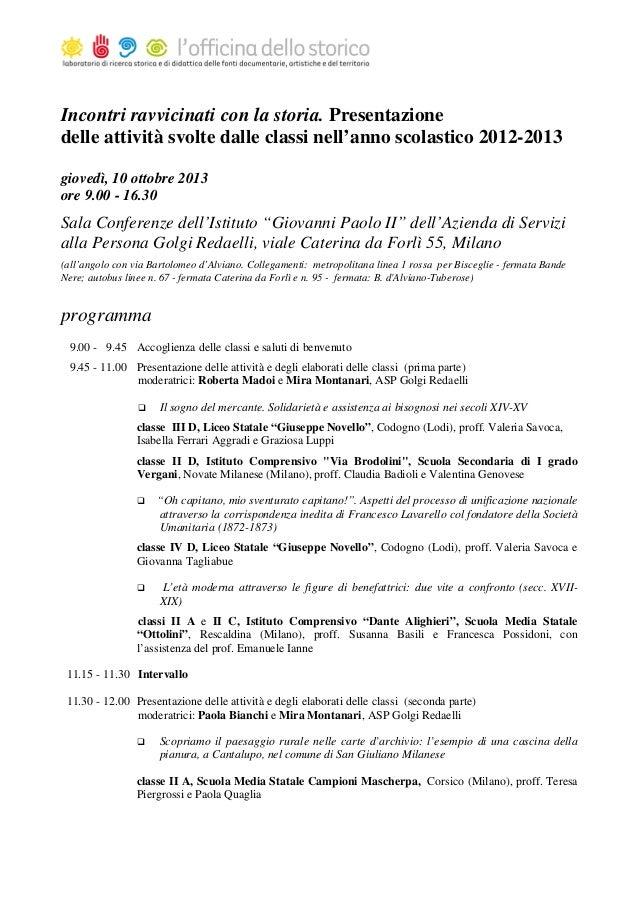 Scuola Media Vergani Novate Milanese.Incontri Ravvicinati Con La Storia Ods 10 Ottobre 2013 Programma