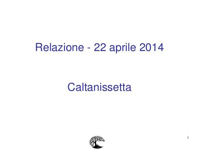 1 Relazione - 22 aprile 2014 Caltanissetta