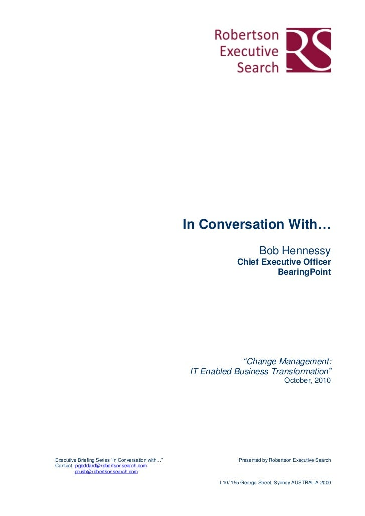 In Conversation With…                                                                          Bob Hennessy               ...