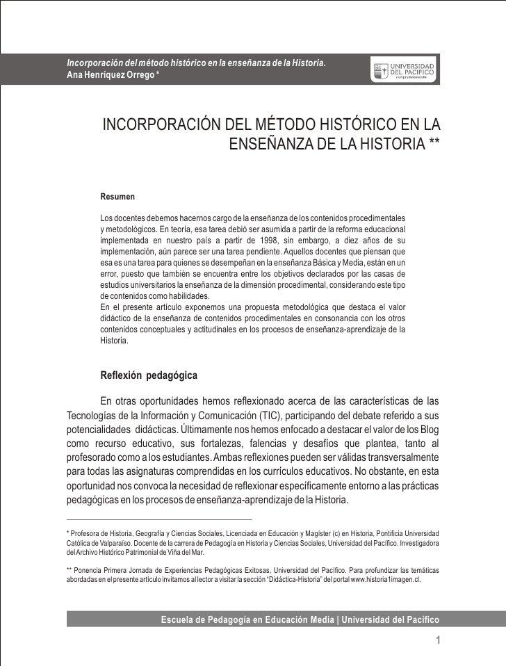 Incorporación del método histórico en la enseñanza de la historia