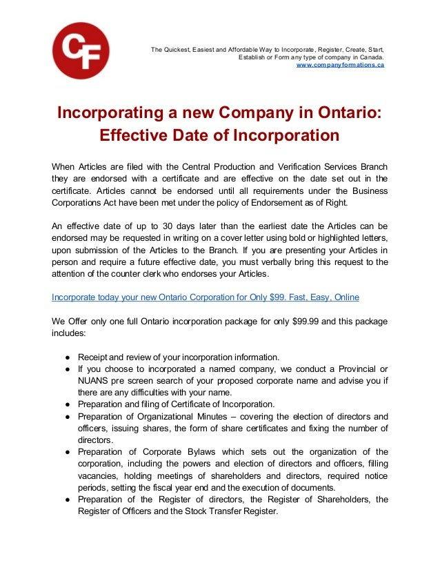 date of articles of incorporation