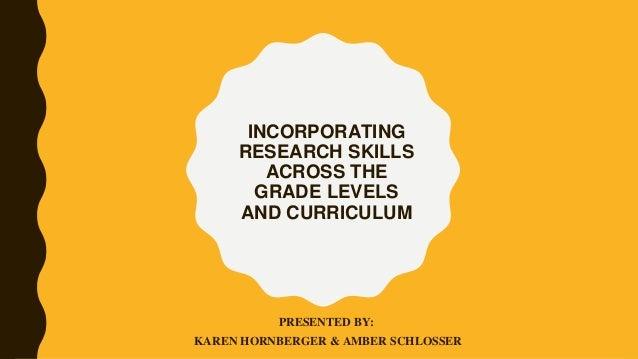 INCORPORATING RESEARCH SKILLS ACROSS THE GRADE LEVELS AND CURRICULUM PRESENTED BY: KAREN HORNBERGER & AMBER SCHLOSSER
