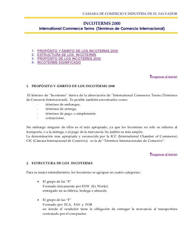CAMARA DE COMERCIO E INDUSTRIA DE EL SALVADOR                                      INCOTERMS 2000            International...