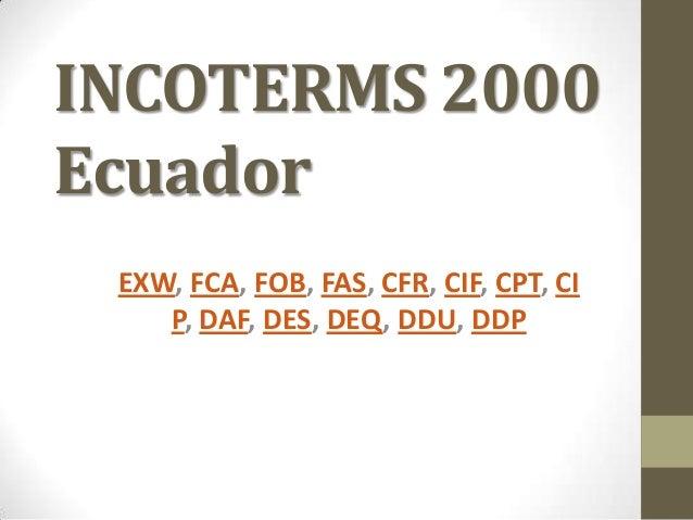 Incoterms vigentes en ecuador