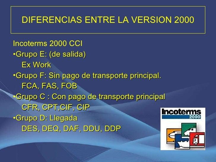 DIFERENCIAS ENTRE LA VERSION 2000 <ul><li>Incoterms 2000 CCI </li></ul><ul><li>Grupo E: (de salida) </li></ul><ul><li>Ex W...