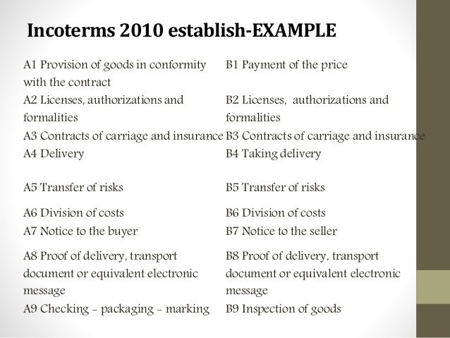 cisg and incoterms 60 cisg 60 cisg 19 mar, 2016 general law 0  as submitted by claimant, this conclusion follows from the cisg and the incoterm cfr 138 article 53 cisg provides: the buyer must pay the price for the goods and take delivery of them as required by the contract and this convention.