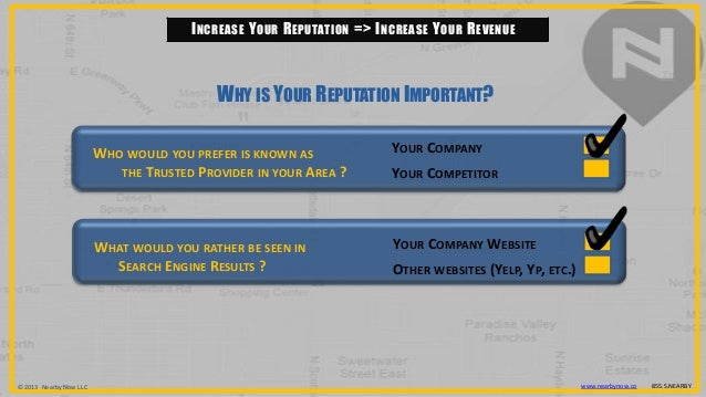 © 2013 Nearby Now LLC www.nearbynow.co 855.5.NEARBYINCREASE YOUR REPUTATION => INCREASE YOUR REVENUEWHO WOULD YOU PREFER I...