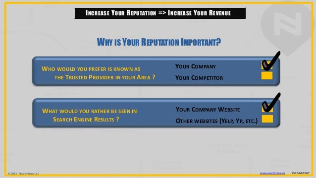© 2013 Nearby Now LLC www.nearbynow.co 855.5.NEARBY INCREASE YOUR REPUTATION => INCREASE YOUR REVENUE WHO WOULD YOU PREFER...