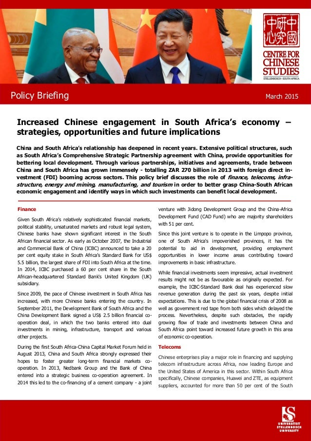 Finance Given South Africa's relatively sophisticated financial markets, political stability, unsaturated markets and robu...