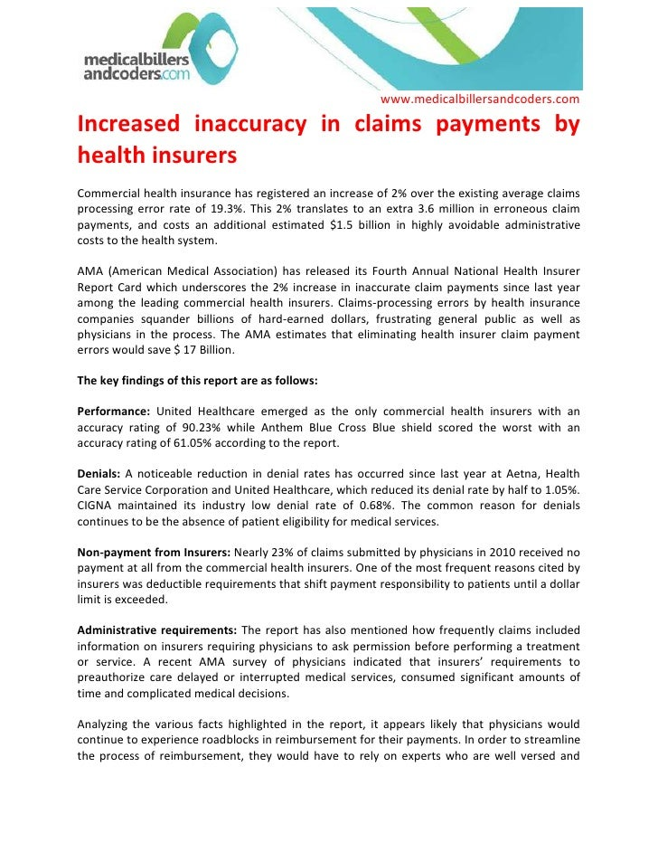 Increased inaccuracy in claims payments by health insurers<br />Commercial health insurance has registered an increase of ...