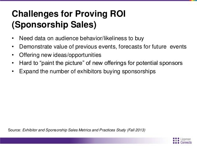 Challenges for Proving ROI (Sponsorship Sales) • Price – budget constraints • Expanded price points of offerings • Healthc...