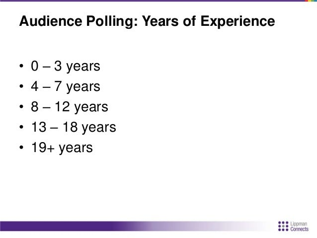 Audience Polling: Years of Experience • 0 – 3 years • 4 – 7 years • 8 – 12 years • 13 – 18 years • 19+ years