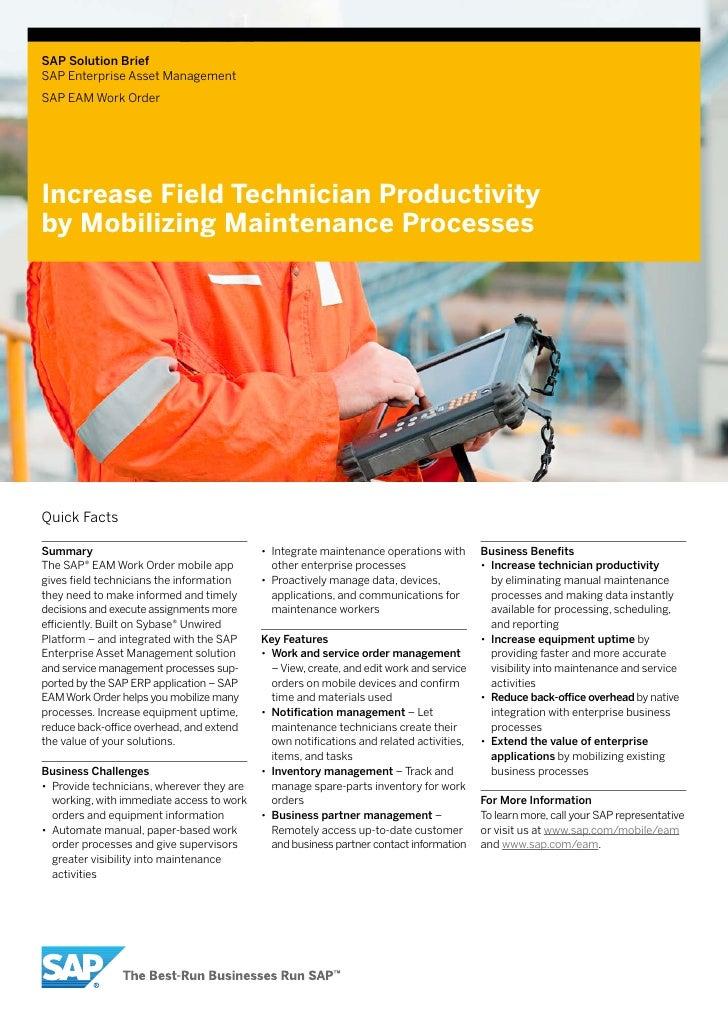 SAP Solution BriefSAP Enterprise Asset ManagementSAP EAM Work OrderIncrease Field Technician Productivityby Mobilizing Mai...