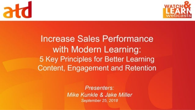Presentation Title Subhead Can Be Placed Here Increase Sales Performance with Modern Learning: 5 Key Principles for Better...