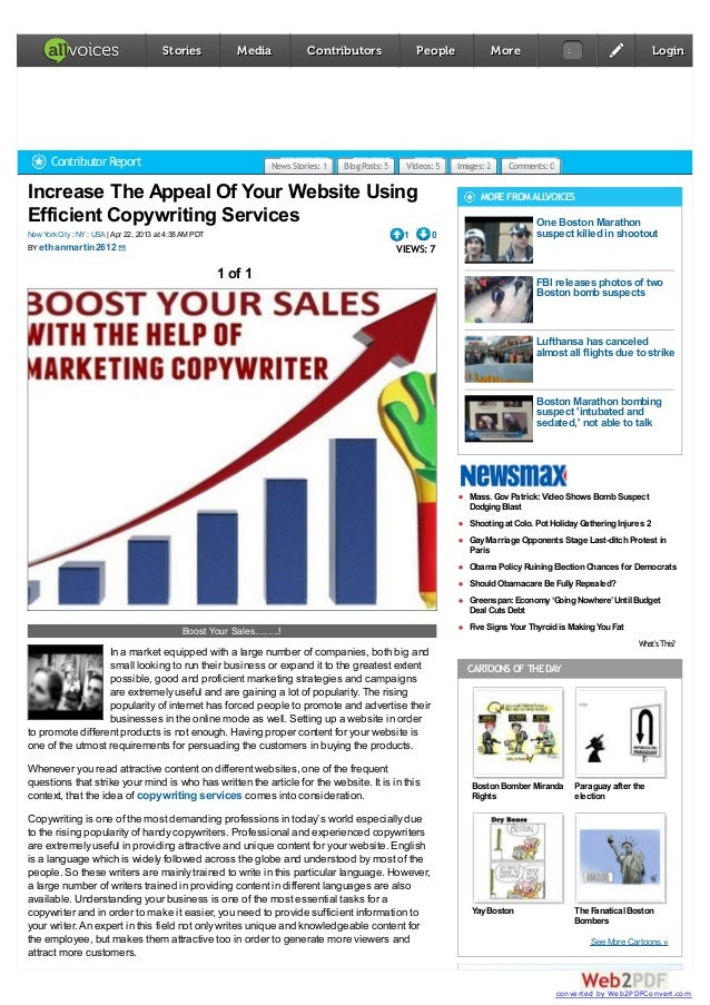 Increase The Appeal Of Your Website UsingEfficient Copywriting Services| Apr 22, 2013 at 4:38AM PDTNewYorkCity : NY : USAB...