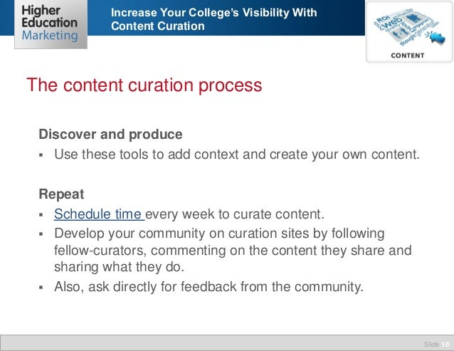 Increase Your College's Visibility With Content Curation  The content curation process Discover and produce  Use these to...
