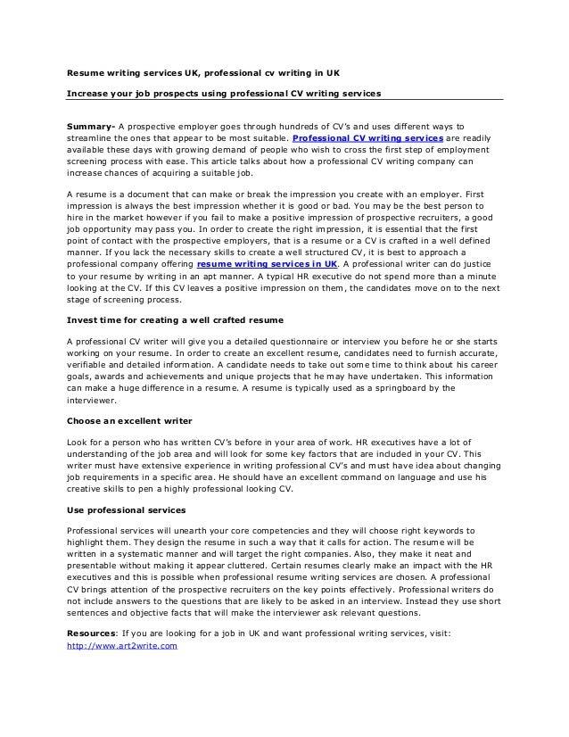 Professional cv writing service uk