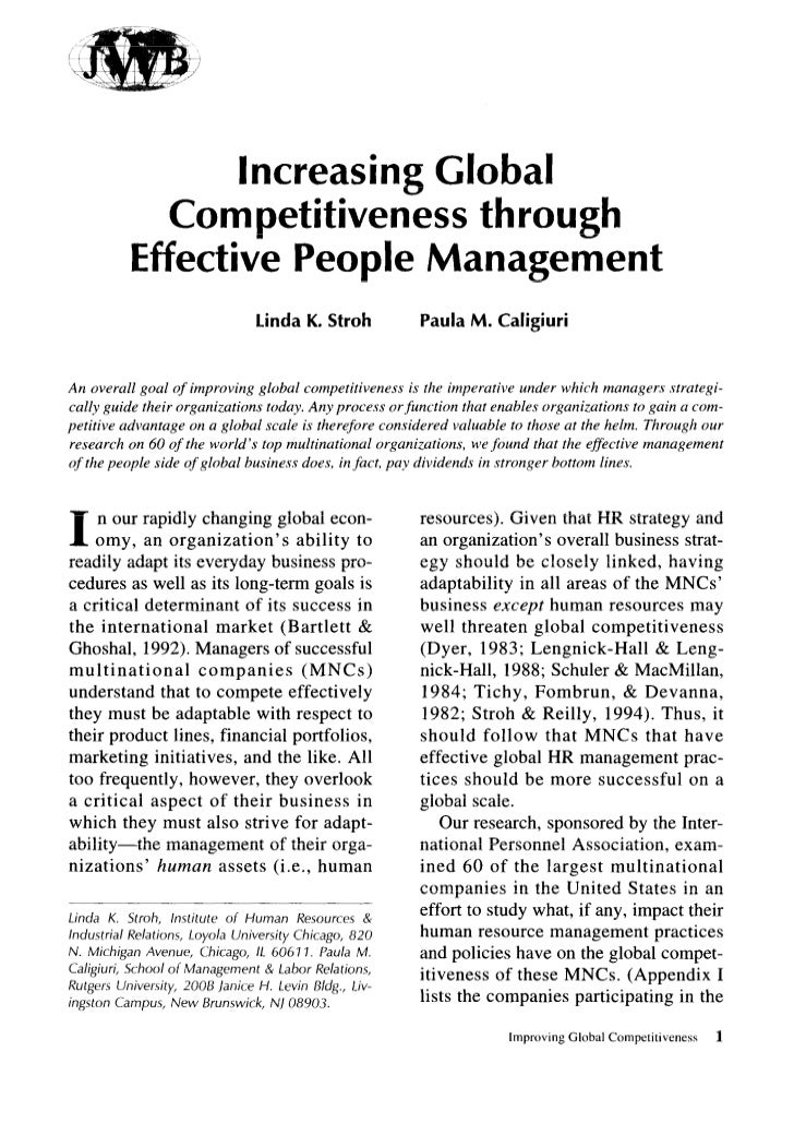 Increasing Global                 Competitiveness through               Effective People Management                       ...