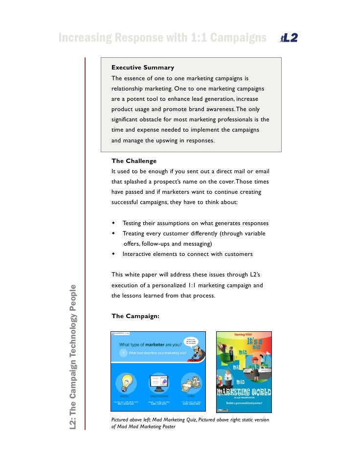 Increasing Response with 1:1 Campaigns                                         Executive Summary                          ...