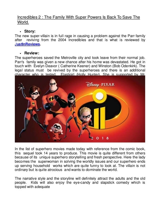 Incredibles 2 the family with super powers is back to save