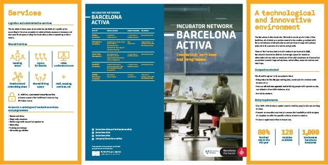 Incubation services and programmes A technological and innovative environment The Barcelona Activa Incubator Network is ma...