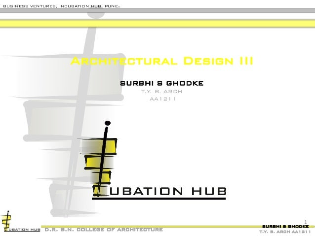 SURBHI S GHODKE T.Y. B. ARCH AA1211 BUSINESS VENTURES, INCUBATION HUB, PUNE. d.r. b.n. college of architecture Architectur...