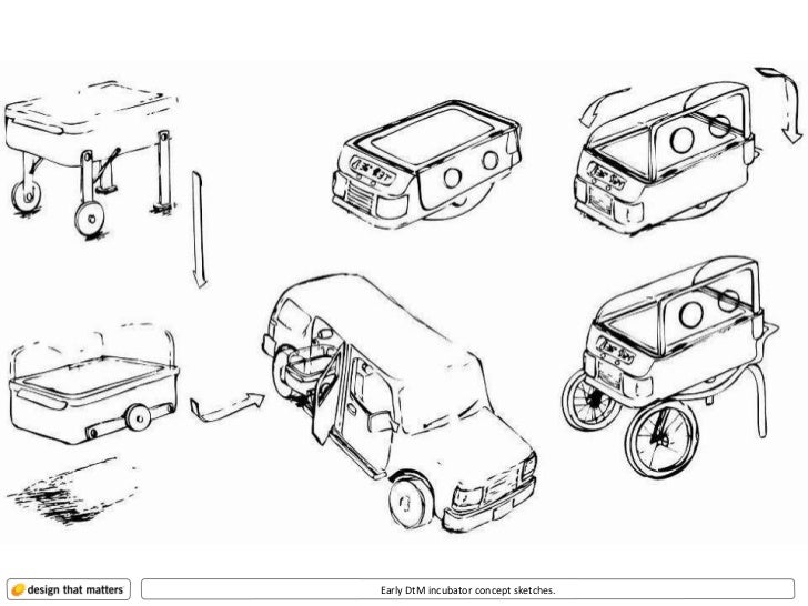 Early DtM incubator concept sketches.