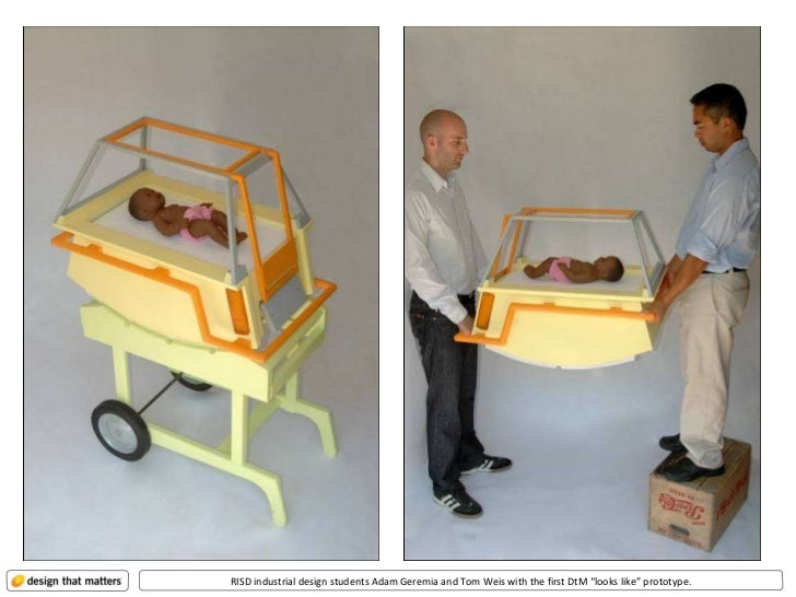 """RISD industrial design students Adam Geremia and Tom Weis with the first DtM """"looks like"""" prototype."""