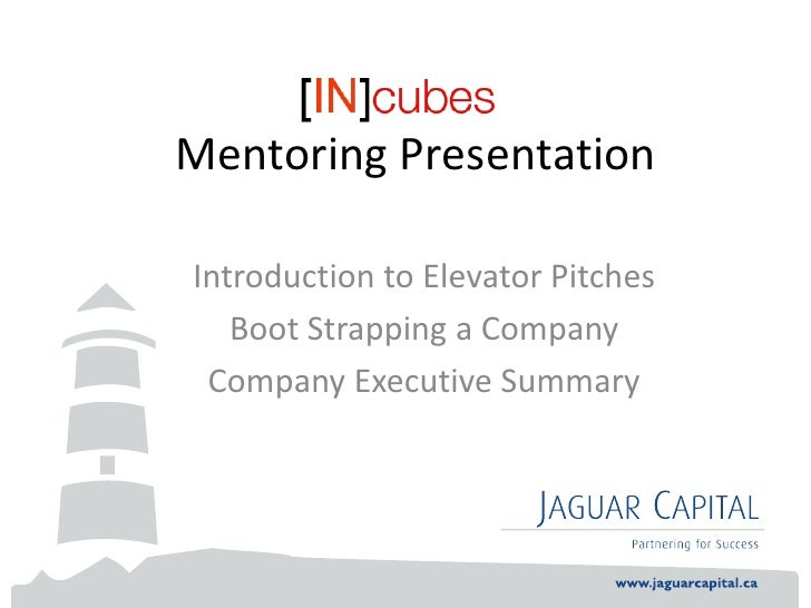 Mentoring PresentationIntroduction to Elevator Pitches   Boot Strapping a Company Company Executive Summary