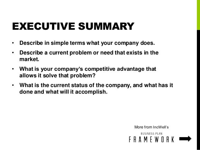 what is the executive summary in a business plan