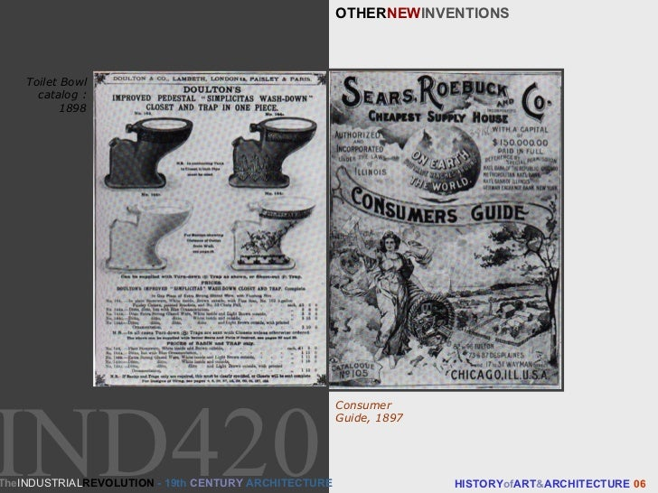 OTHER NEW INVENTIONS HISTORY of ART & ARCHITECTURE  06 Toilet Bowl catalog : 1898 Consumer Guide, 1897 The INDUSTRIAL REVO...
