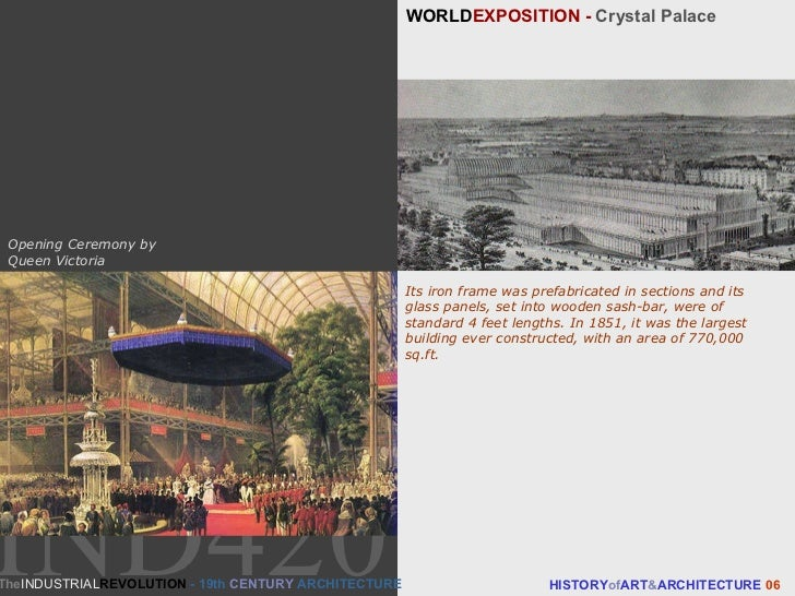 WORLD EXPOSITION -  Crystal Palace HISTORY of ART & ARCHITECTURE  06 Its iron frame was prefabricated in sections and its ...