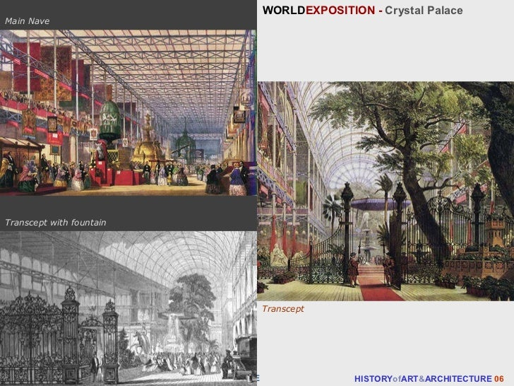 WORLD EXPOSITION -  Crystal Palace HISTORY of ART & ARCHITECTURE  06 Main Nave The INDUSTRIAL REVOLUTION  - 19th  CENTURY ...