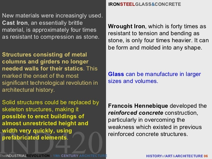 IRON STEEL GLASS & CONCRETE  HISTORY of ART & ARCHITECTURE  06 New materials were increasingly used.  Cast Iron , an essen...