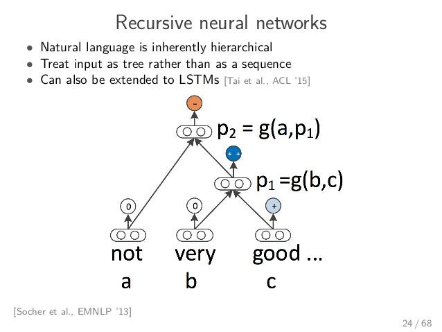 Recursive neural networks • Natural language is inherently hierarchical • Treat input as tree rather than as a sequence • ...