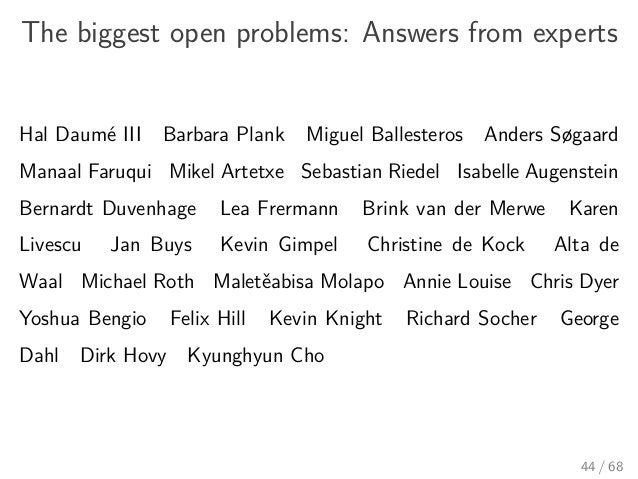 The biggest open problems: Answers from experts Hal Daumé III Barbara Plank Miguel Ballesteros Anders Søgaard Manaal Faruq...