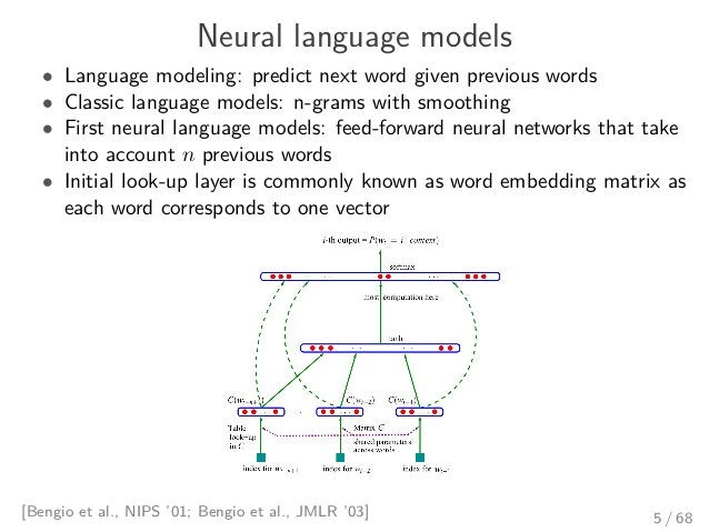 Neural language models • Language modeling: predict next word given previous words • Classic language models: n-grams with...