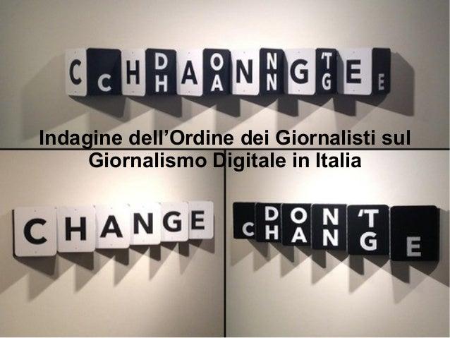 Indagine dell'Ordine dei Giornalisti sul  Giornalismo Digitale in Italia
