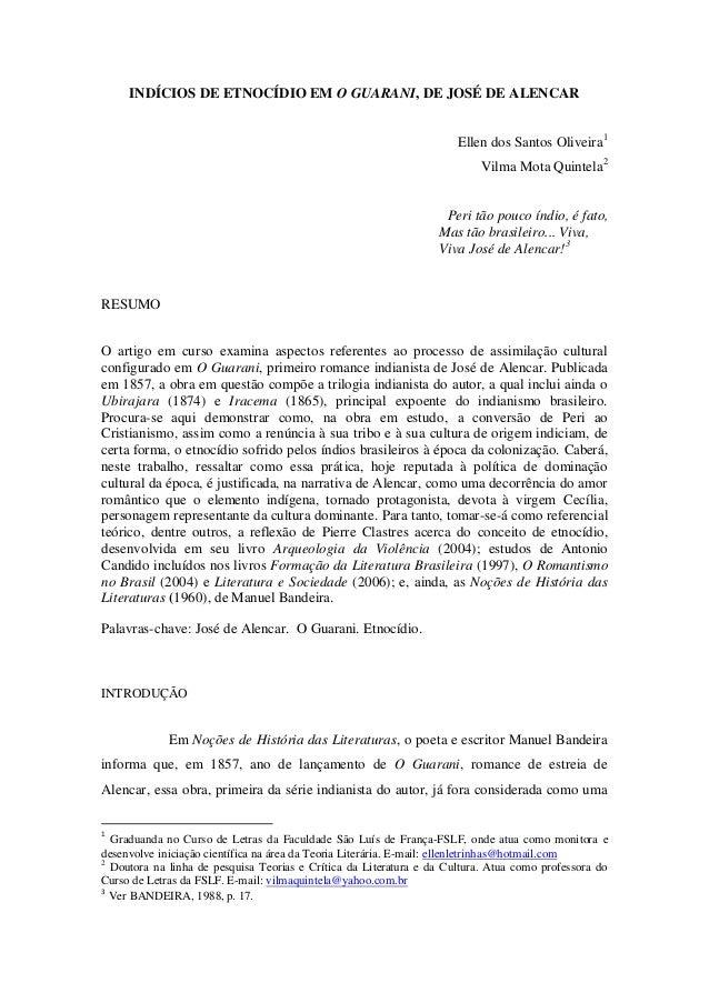 INDÍCIOS DE ETNOCÍDIO EM O GUARANI, DE JOSÉ DE ALENCAR                                                                    ...