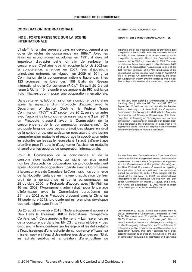 POLITIQUES DE CONCURRENCE  COOPERATION INTERNATIONALE  INTERNATIONAL COOPERATION  INDE : FORTE PRESENCE SUR LA SCENE INTER...