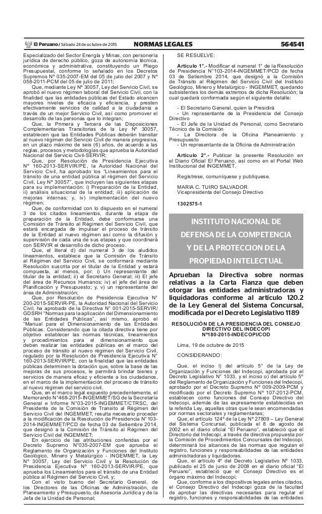 564541NORMAS LEGALESSábado 24 de octubre de 2015El Peruano / Especializado del Sector Energía y Minas, con personería jurí...