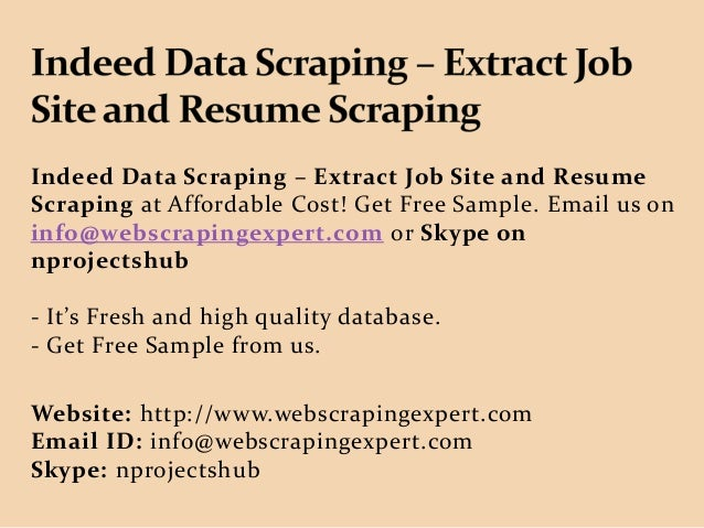 Indeed Data Scraping – Extract Job Site and Resume Scraping