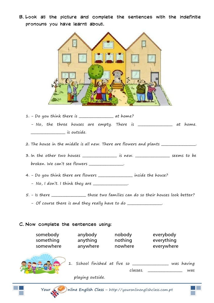 Indefinite Pronouns – Indefinite Pronoun Worksheet