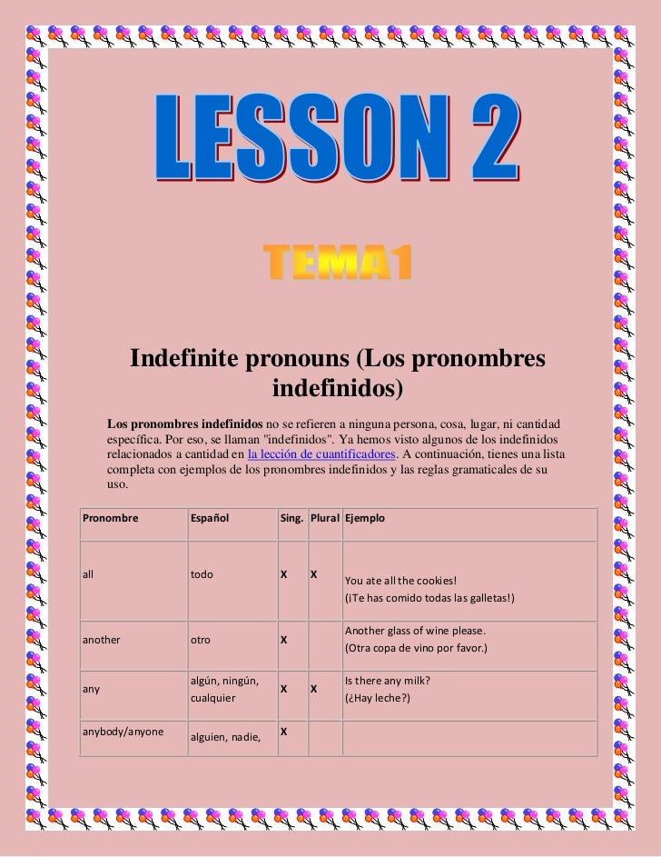 Indefinite pronouns (Los pronombres                       indefinidos)      Los pronombres indefinidos no se refieren a ni...