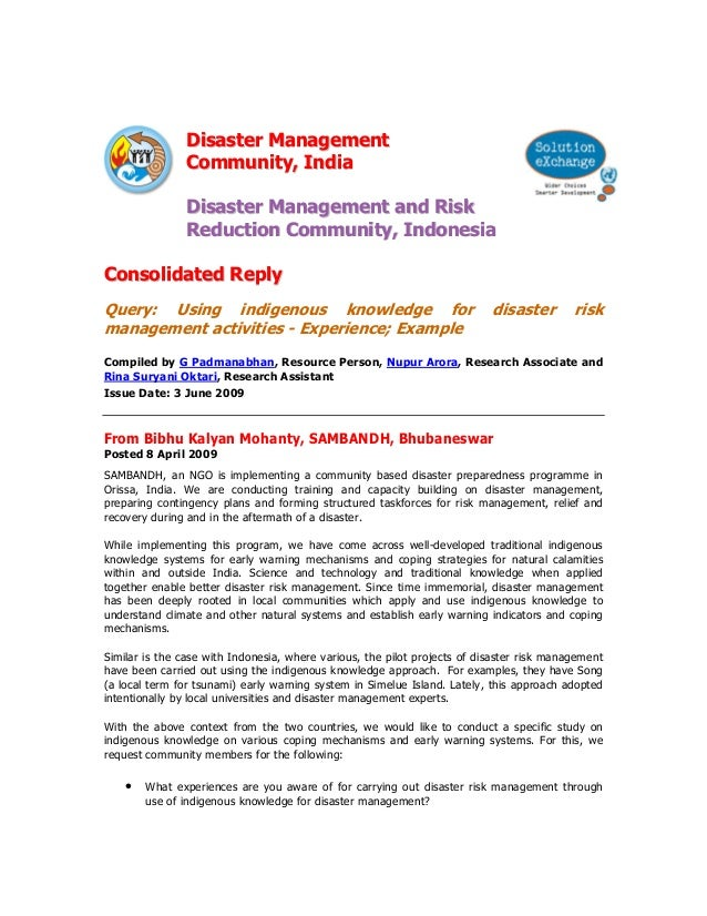 Disaster Management                Community, India                Disaster Management and Risk                Reduction C...