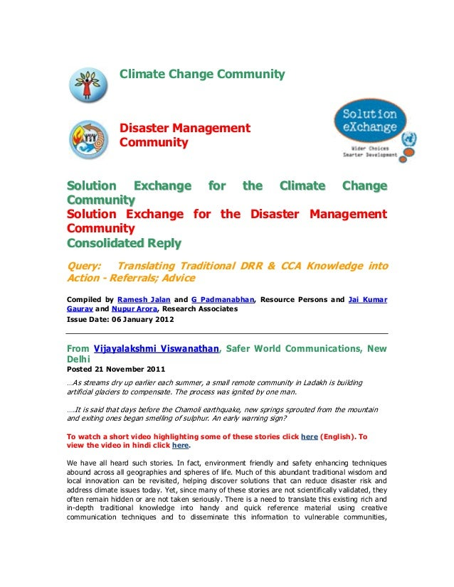 Climate Change Community                Disaster Management                CommunitySolution Exchange for the Climate Chan...